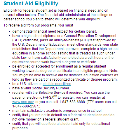 student aid requirements