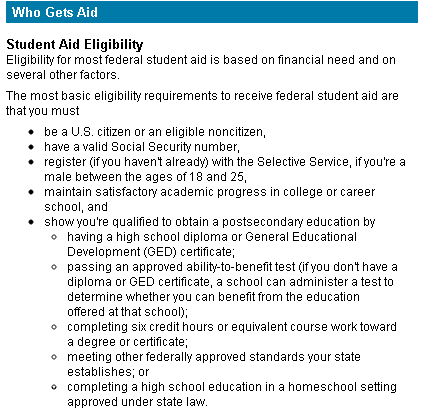 Financial Aid Eligibility requirements